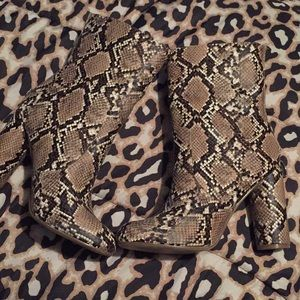 Snake skin print booties